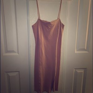 pink peachish forever 21 pencil dress with slit
